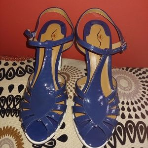 Never worn blue patent leather Nina sandals